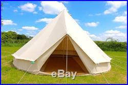 100% Cotton Canvas Teepee/Tipi Bell Tent, Large Family Camping 2/3 Man Tents
