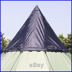 10'x10' 6 Person Teepee Camping Tent Family Outdoor Sleeping Dome With Carry Bag