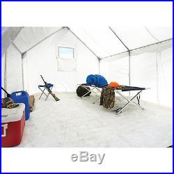 12 X 10 Canvas Wall Tent Bundle with Floor, Frame, & Outdoor Wood Stove Camp Cabin