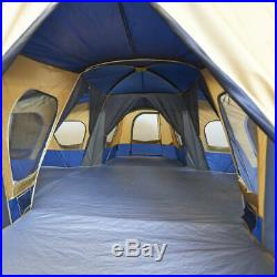 14-Person Camp Tent 4-Rooms 4 Doors Camping Family Shelter Windows Ventilation