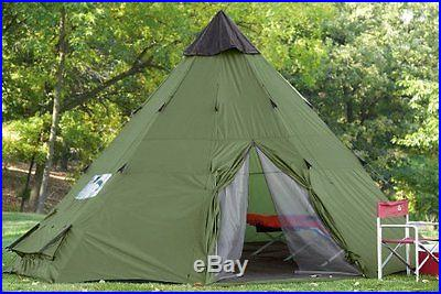 18X18 Large Weatherproof Teepee Camping Family Cabin Tent Hiking Backpacking