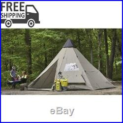 18 x 18 Teepee Tent Camp Hunt Beige 8-person Water Rain Weather Proof Hike
