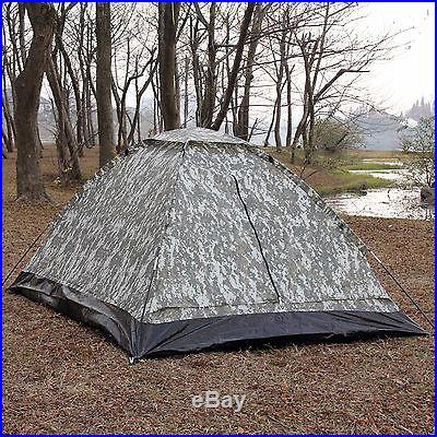 2 Person Camping Hiking Travelling Dome Light Camouflage Tent w/ Carry Bag SALE