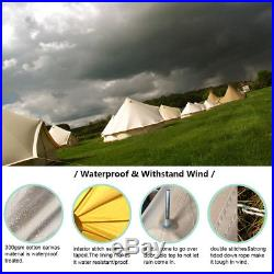 3M Waterproof Luxury Bell Tent Family Outdoor Camping Teepee Tent With Stove Jack