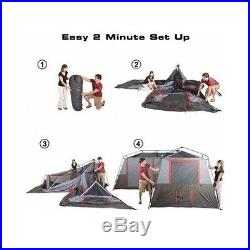 3 Room Tent 12-Person Instant Cabin Family Camping Easy Setup With Carry Bag
