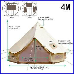 4M Double Door Large Cotton Canvas Bell Tent Glamping Yurt Camping Tent