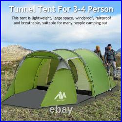 4 3 Person Camping Tunnel Tent Double Layer Waterproof Family Dome Portable Tent