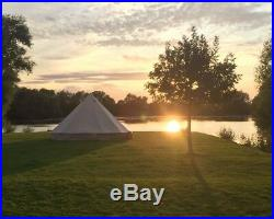 4-Season Bell Tent 3M Cotton Canvas Glamping Waterproof Tents Outdoor Tipi Yurts