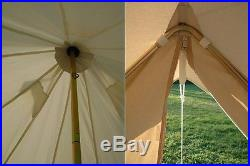4m Waterproof Cotton Canvas Family Camping Bell Tent with Hole for Stove Pipe