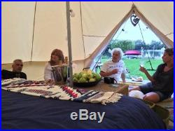 5M/16.4ft Beige Heavy Duty Glamping Cotton Canvas Bell Tents Yurt British Tents