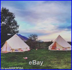 5M Outdoor Canvas Bell Tent Waterproof Family Camping Tent +Winter Stove Hole