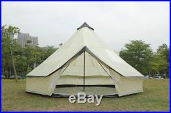 5m Bell Tent With Zipped In Ground Sheet 10 Berth family camping tent Beige