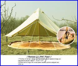 6M/19ft Canvas Tent Safari Tent Yurt Bell Tent Outdoor Camping Beige Stove Jack