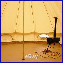 6M Waterproof Canvas Bell Tent Yurt Glamping Camping Yurt Hunting Stove Jack