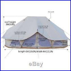 6Metre Emperor Twin Bell Tent Safari Tent Waterproof Hunting Glamping Wall Tent