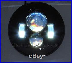 7 MOTORCYCLE BLACK PROJECTOR DAYMAKER HID LED LIGHT BULB HEADLIGHT For Harley