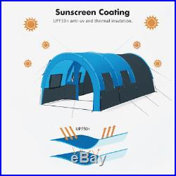 8-10 People Camping Tent Waterproof Tunnel Double Layer Large Family Canopy New