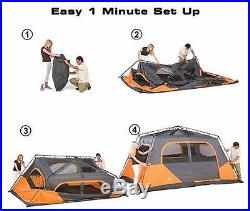 8 PERSON ORANGE CABIN TENT Family Camping Waterproof Outdoor Hiking LARGE BIG