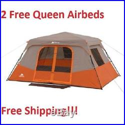 8 Person Instant Tent Cabin & 2 FREE Airbeds Family Camping Waterproof Orange
