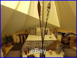 Beige Bell Tent 4M Waterproof Canvas Square Front Awning Camping Beach Tent Yurt