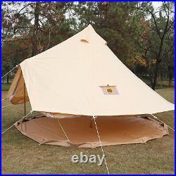 Bell Tent 4-Season Sun Canopy Sibley Tent Waterproof Cotton Canvas Glamping Yurt