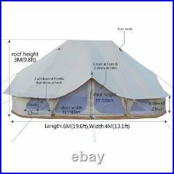 Bell Tent 6x4M Emperor Tent Twin Ultimate Safari Waterproof Hunting Wall Tent US