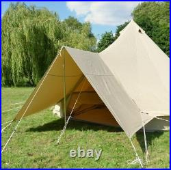 Bell Tent Cotton Canvas Awning With Pole 400cm x 260cm