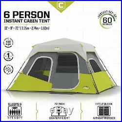 CORE Instant Cabin 11 x 9 Foot 6 Person Cabin Tent Air Vents Loft, Red(Open Box)