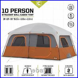 CORE Outdoor Straight Wall Family Camping 10-Person Cabin Tent, Red (Open Box)