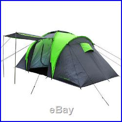 Charles Bentley 4 Man Camping Tunnel Tent 2 Rooms & Awning H170 x L420 x W210cm