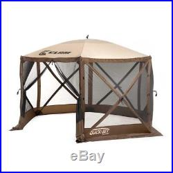 Clam Quick Set Escape Portable Camping Outdoor Gazebo Canopy, Brown/Tan
