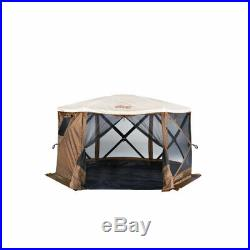 Clam Quick Set Pavilion Outdoor Screened Gazebo Canopy Tent Rain Fly Tarp, Tan