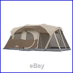 Coleman WeatherMaster Screen 6 Person Two Room Tent Hinged Door Camping Outdoor