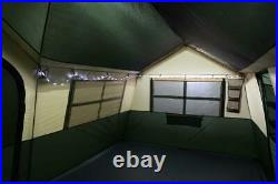 Deluxe 12 Person Outdoor Home Cabin Tent 2 Room LED Lights TV Screen Camping