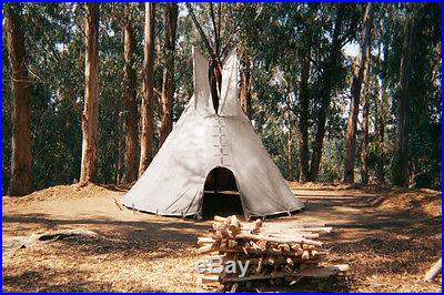 FIRE CERTIFIED 20' CHEYENNE STYLE tipi/teepee, Door flap, carry bag, Lacepin set