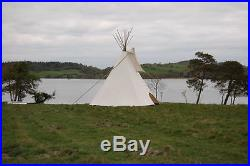 FIRE CERTIFIED 20' CHEYENNE STYLE tipi/teepee, Door flap, carry bag, Lacepins