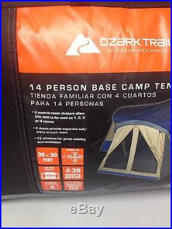 Family Cabin Tent 14 Person Base Camp 4 Room Camping Shelter Outdoor Ozark Trail