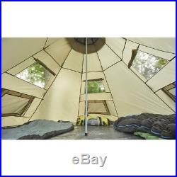 Family Teepee Tent 10' x 10' Sleeps 2 Camping Outdoor Family Rainfly Beige Floor