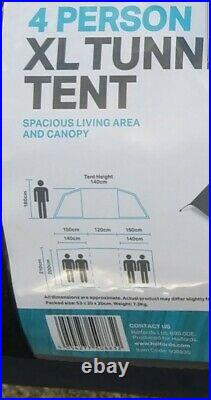 Halfords 4 Person XL Tunnel Tent 2 Rooms