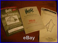 Moss USA Helix tent complete withoriginal manuals, footprint