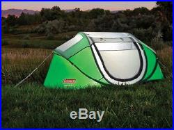 NEW! COLEMAN 2 Person Pre-Assembled Instant Pop Up Camping Tent with Taped Rainfly