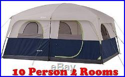 OZARK 10-PERSON 2 ROOM CABIN TENT WATERPROOF RAINFLY CAMPING Gray/Blue NEW