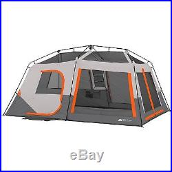Ozark Trail 10 Person 2 Room Instant Cabin Family Camping Tent with Led Light Pole