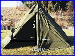 Polish army olive military two man teepee style army surplus tent WITH POLES 1-2