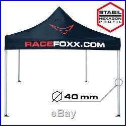 RACEFOXX Paddock Zelt Motorsport 3x3m Standrohr 40mm Wasserdicht Racing