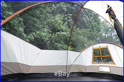 Tahoe Gear Olympia 10 Person Three Season Family Camping Tent Orange/Ivory