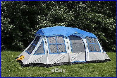 Tahoe Gear Prescott 12 Person 3-Season Family Cabin Camping Tent Blue/White