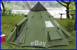 Teepee Tent 6 Person Family Camping Military Hiking Outdoor Survival Green Peak