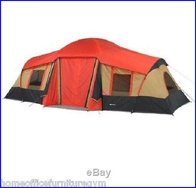 Tent 10 Person 3 Room Camping Cabin Screened Family Canvas Hiking Outdoor Tent