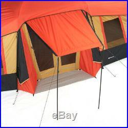 Tienda Casa de Campaña Camping Grande 10 Personas 3 Cuartos Instantanea Naranja